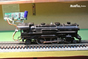 BlueRail's first Bluetooth board (2012) powering an O gauge Lionel.